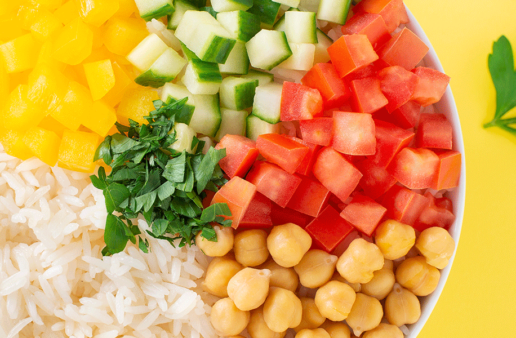 Rice & Chickpea Salad with vegetables