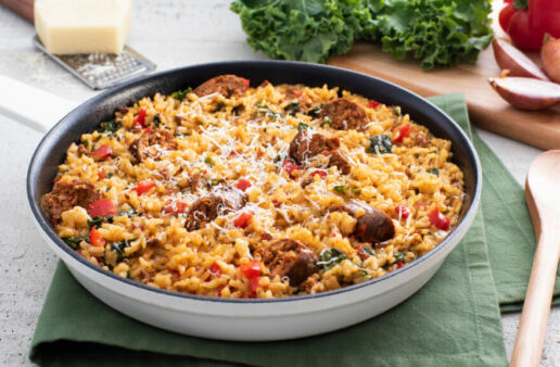 Baked Jambalaya Risotto with Andouille & Kale
