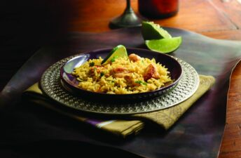 Basmati rice with moroccan style chicken and limes