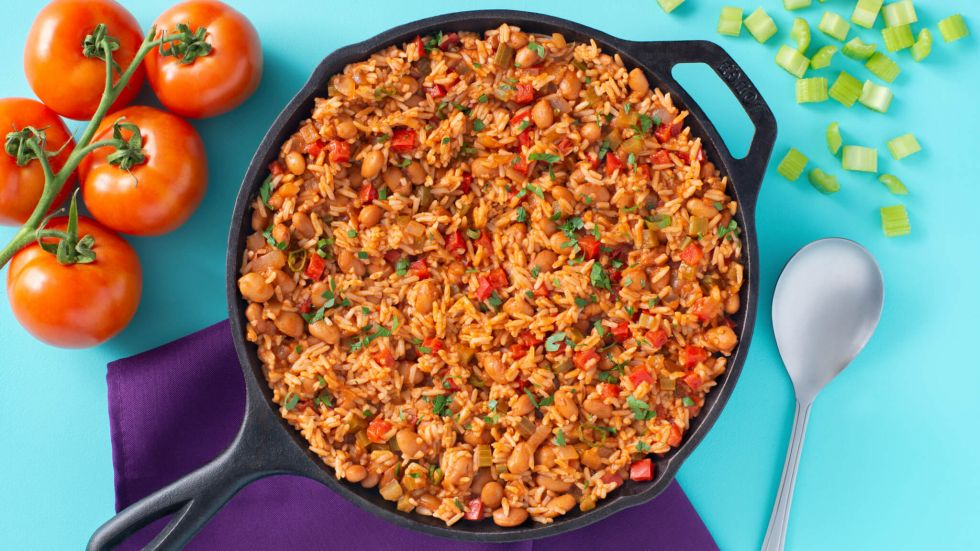 Creole style Rice and Beans Skillet Dinner
