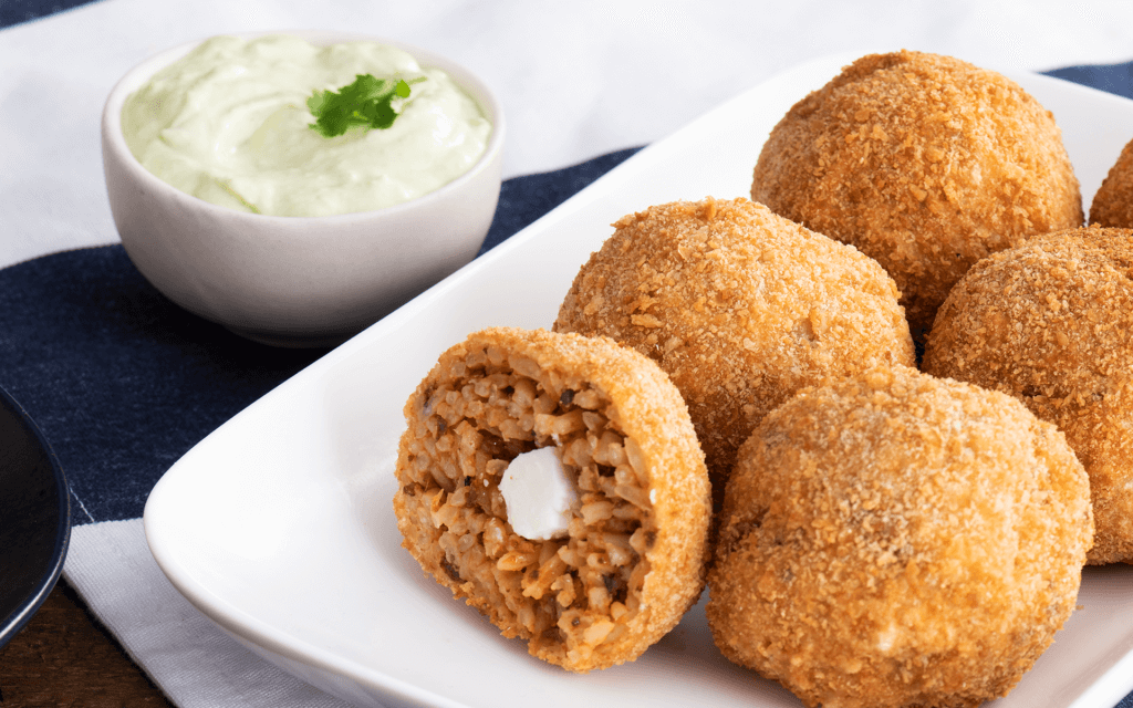 Spicy Rice Croquettes with Avocado Cream & Chorizo