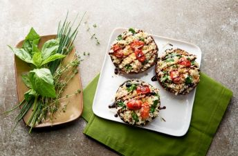 Jasmine with Red & Wild Rice Stuffed Portobello Mushrooms