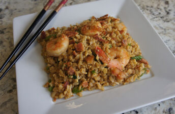 Shrimp Fried Brown Rice with Chopsticks