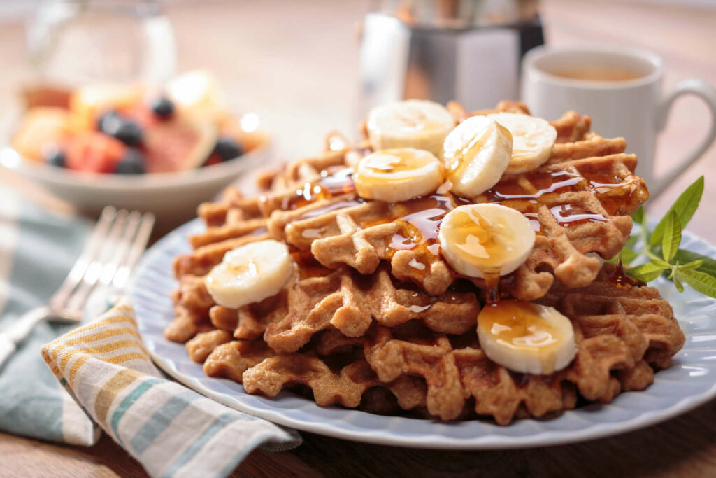 Gluten Free Banana Rice Waffles with White Rice