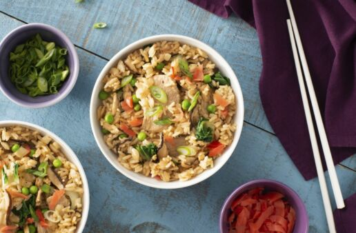 pork and vegetable fried rice with ginger