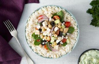 Greek power bowl with Chicken, Jasmine and Quinoa