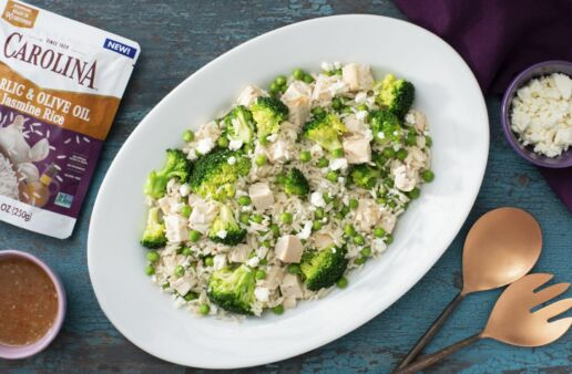 Green Rice Salad with chicken and broccoli