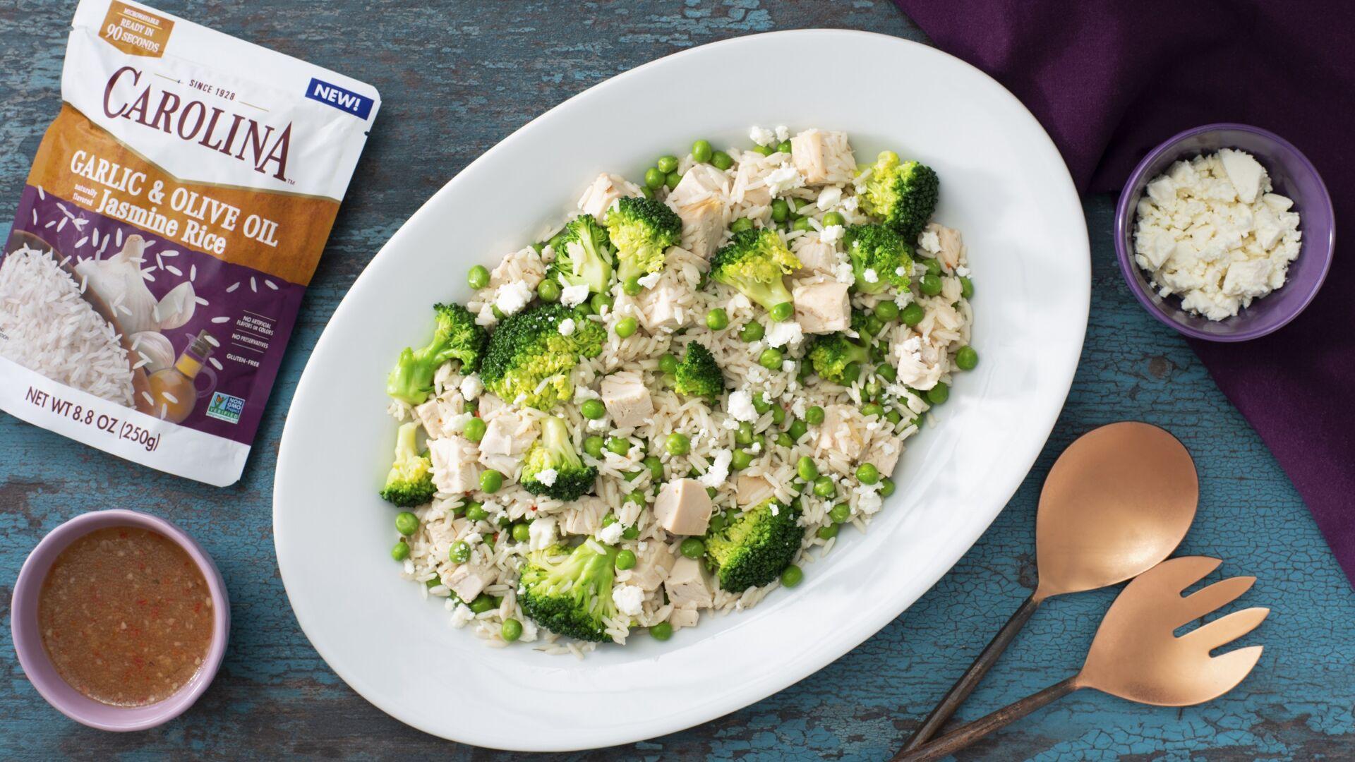 Ensalada verde con arroz y pollo