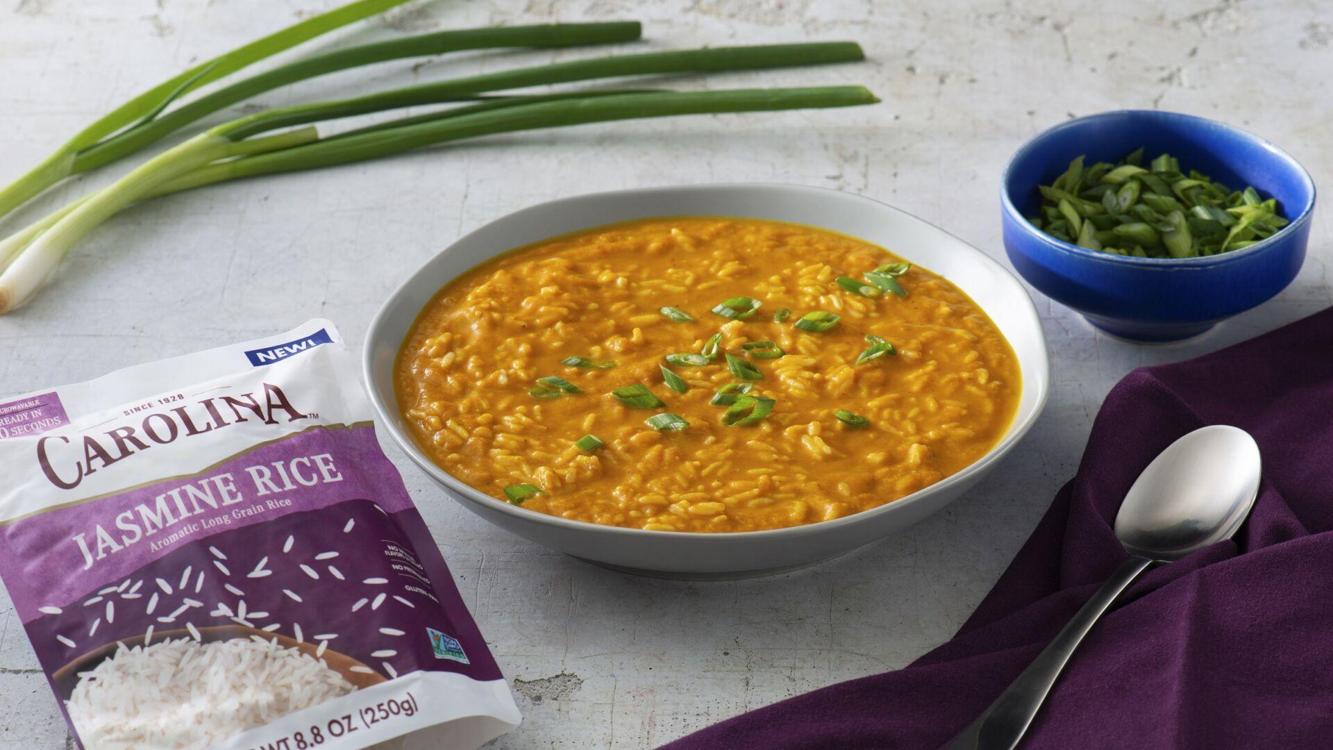 Pumpkin Coconut Rice Soup