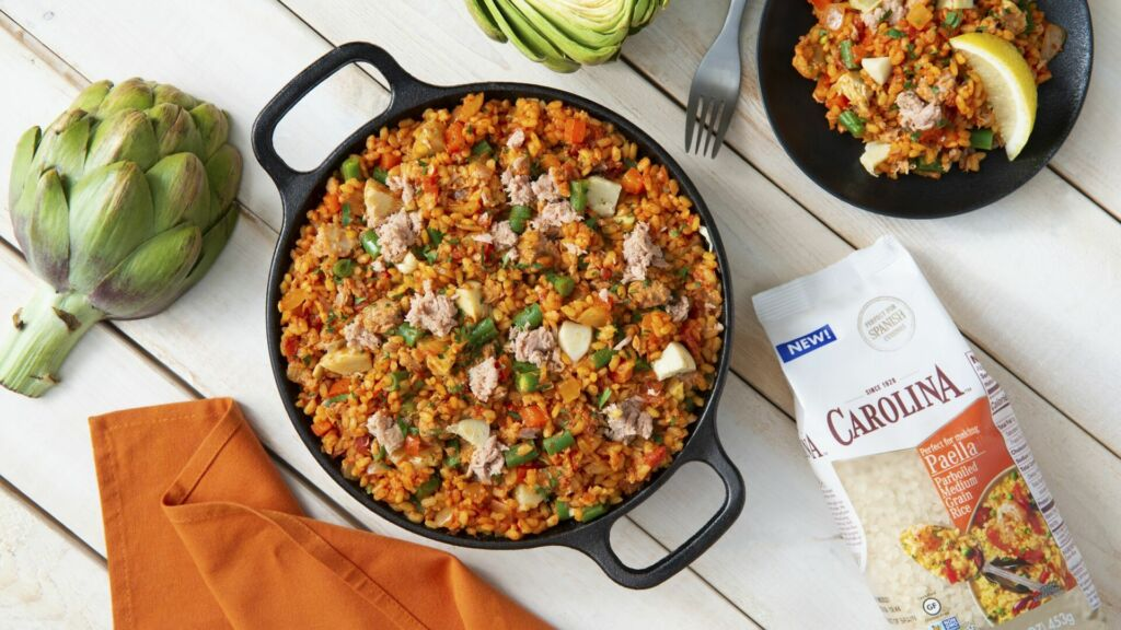 Tuna and Artichoke paella with medium grain rice