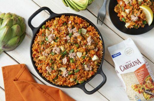 Tuna and Artichoke paella with medium grain rice