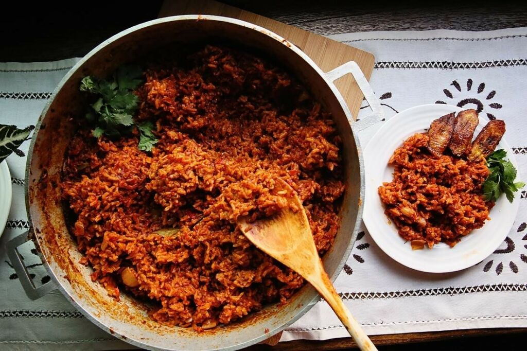 Jollof Rice Recipe with Fried Plantains made with Basmati Rice