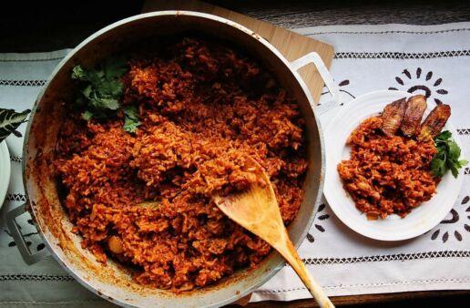 Jollof Rice Recipe with Fried Plantains made with Basmati Rice