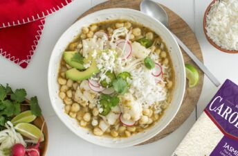 Mexican Traditional Green Pozole with Fish and Jasmine Rice