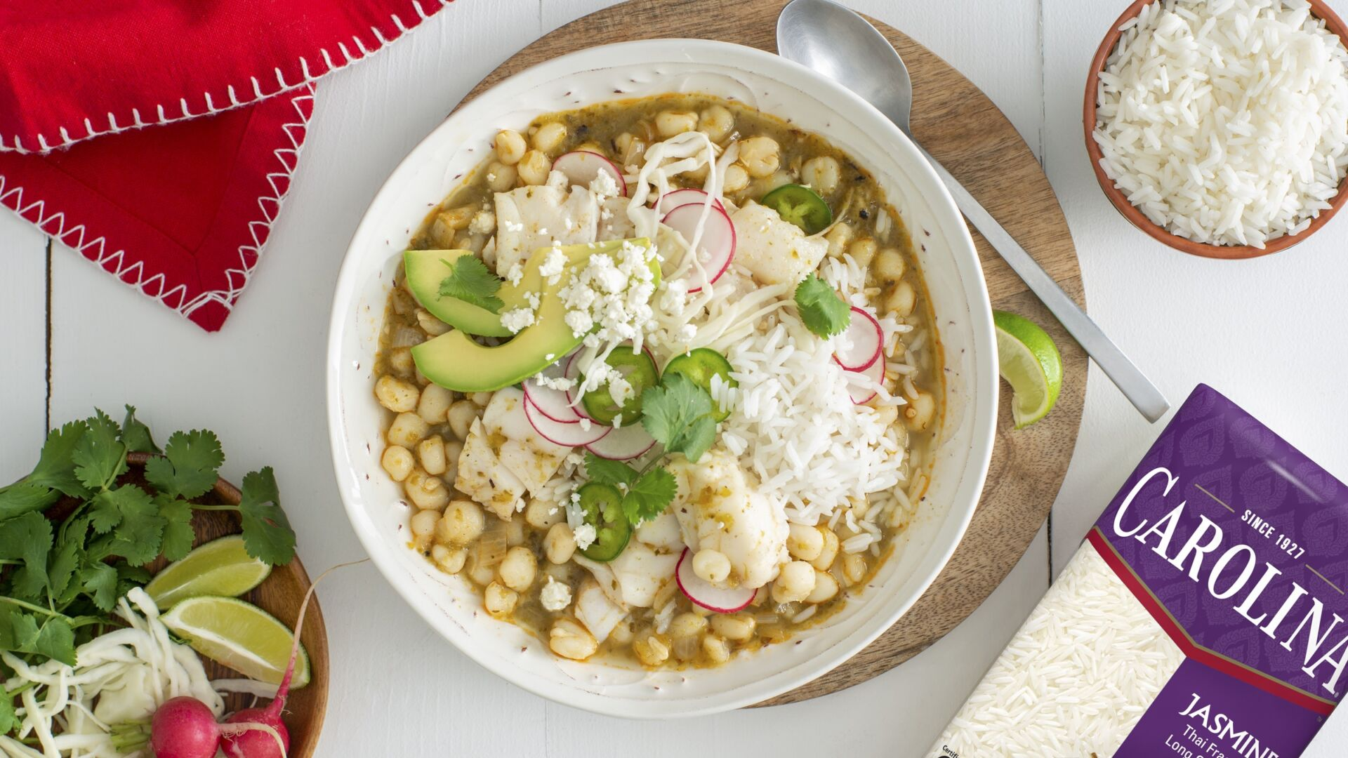 Pozole with Fish and White Rice