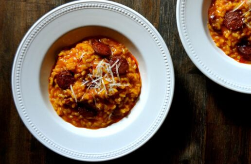 Risotto made with Chorizo and Manchego Cheese