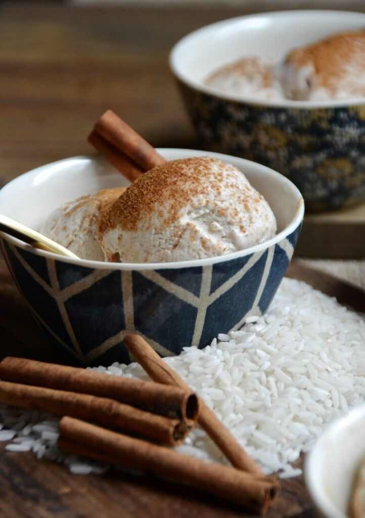 Horchata Ice Cream Scoops with cinnamon