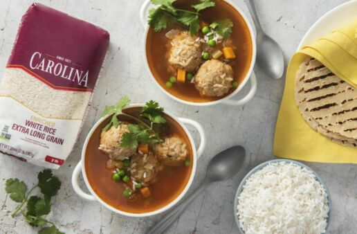 chicken-albondigas-soup-with-white-rice-and-soft-tortillas