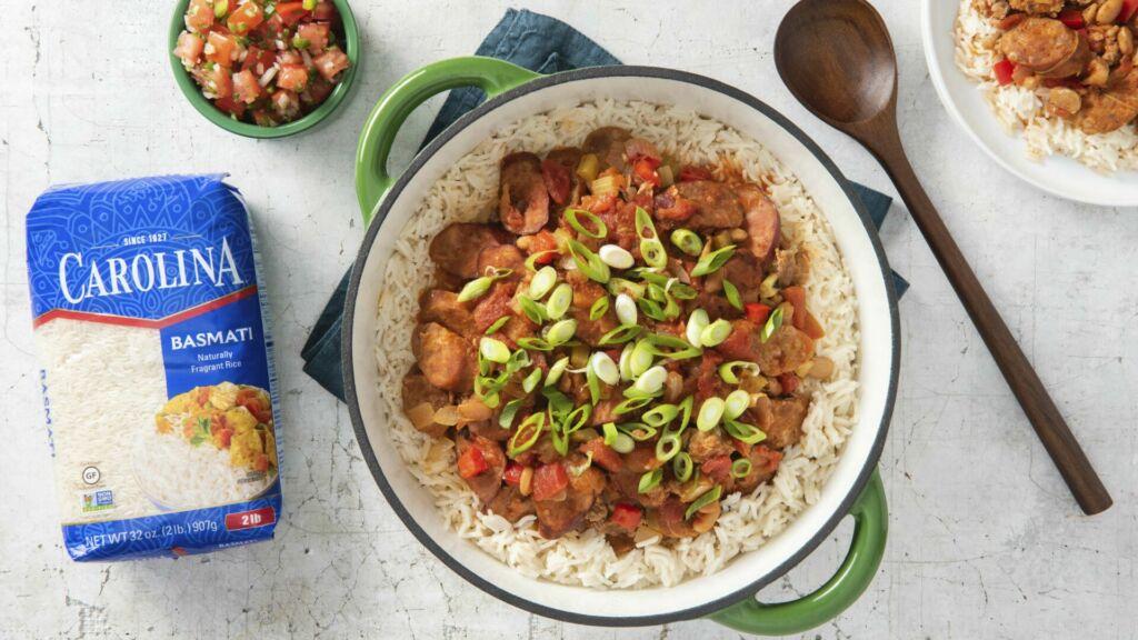 Mexican-jambalaya-with-sausages-and-basmati-rice