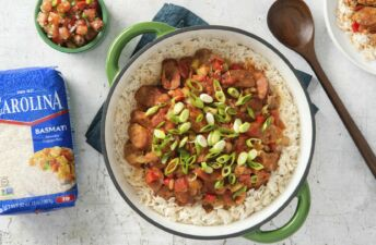 Mexican-jambalaya-with-sausages-and-basmati-rice
