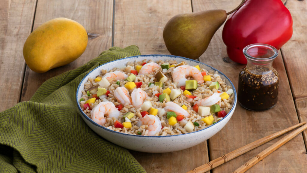 Asian Brown Rice Salad with Shrimp and Sesame Orange Dressing
