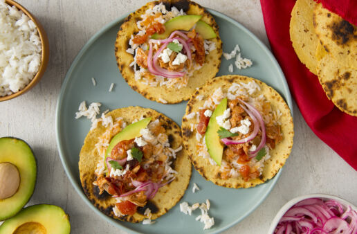 Tacos-filled-with-chicken-tinga-and-white-rice