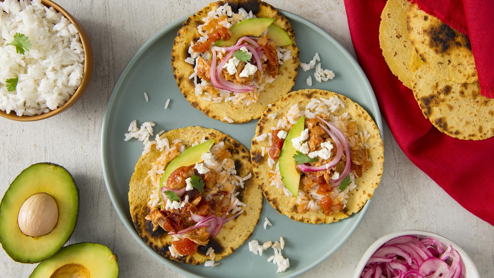 Chicken Tinga and Rice Tacos