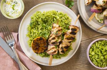 Green jasmine rice with garlic lemon chicken kebabs
