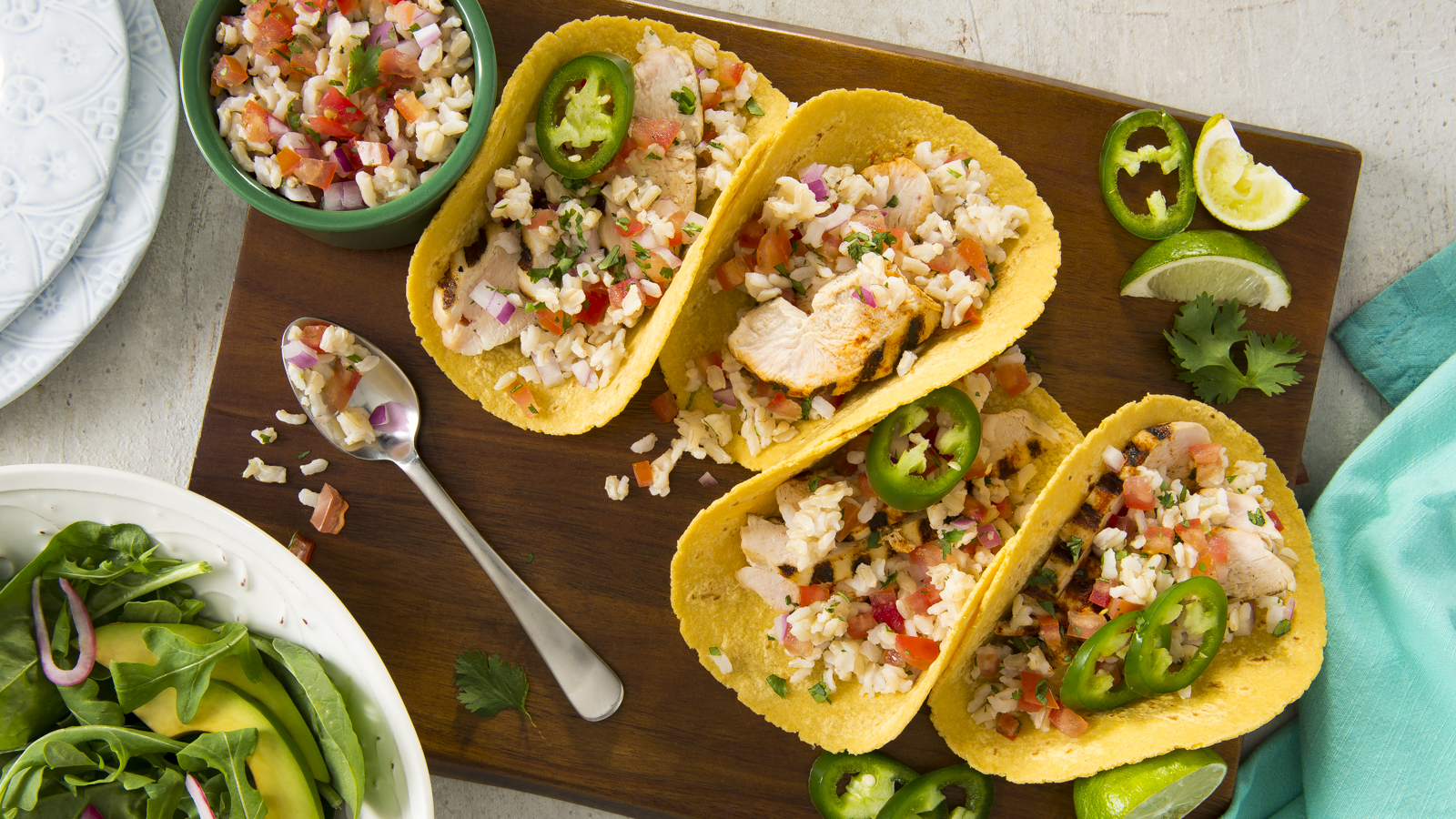 Grilled Chicken Taco with Rice Salsa