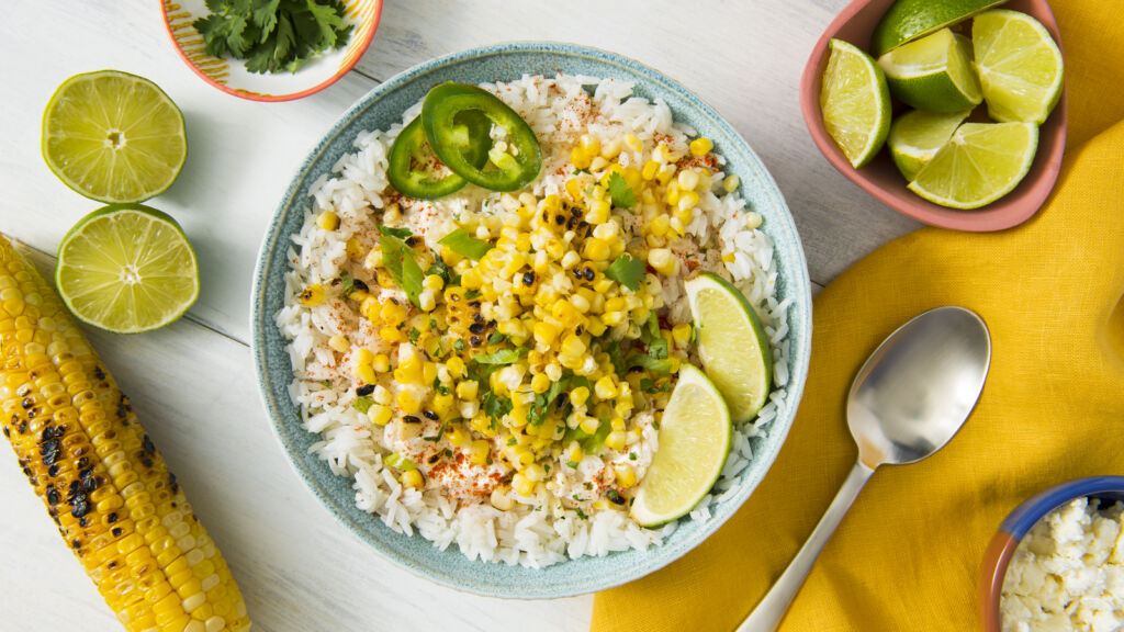 mexican-street-corn-with-jalapenos-lime-and-white-rice