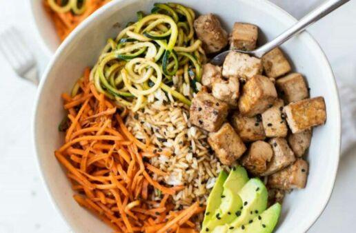 Asian tofu rice bowl