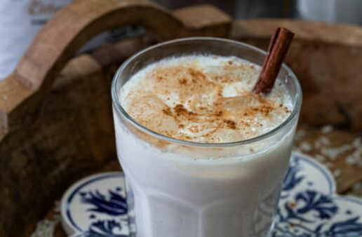 Glass of horchata with cinnamon