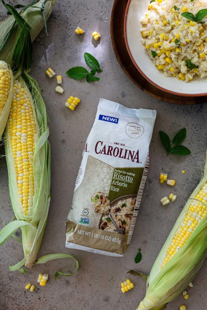 Carolina Arborio Rice with corn on the cob