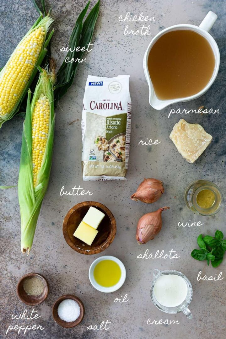 Ingredients for Sweet Corn risotto