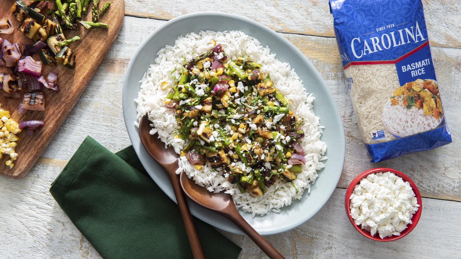 Grilled Summer Vegetable Rice Salad
