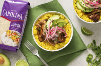 Mojo chicken and yellow rice bowl