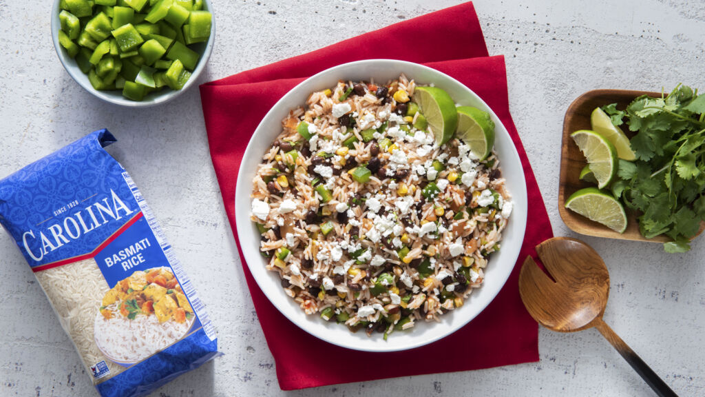 Spicy Southwest-inspired rice salad with beans, feta cheese and cilantro