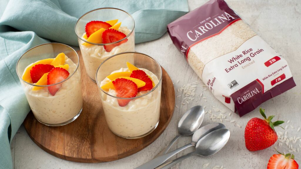 Tres Leches Rice pudding in cup with fruit