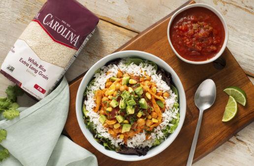vegan tinga rice bowl with avocado