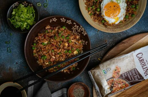 bacon-fried-rice-with-fried-egg-scallions-and-carolina-rice-package