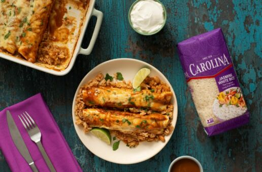 Red and Green Enchiladas with jasmine rice and pinto beans