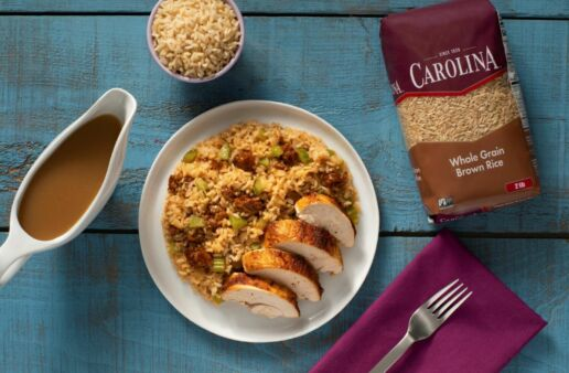 Roast Chicken with Chorizo Brown Rice and Mushroom Stuffing
