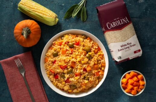 Yellow Rice made with corn and pumpkin