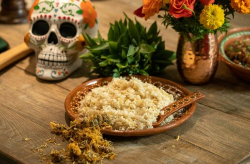 Creamy Marigold Rice for Day of the Dead
