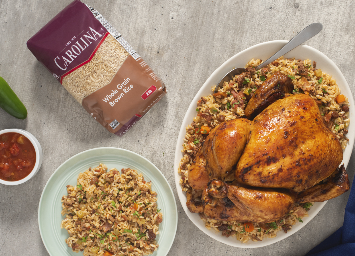 Mexican-Style Roasted Chicken with Brown Rice Pilaf