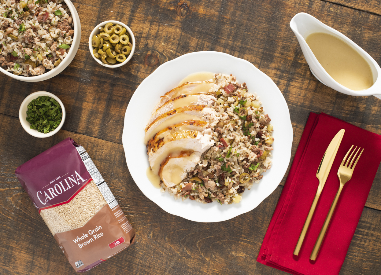 Roasted Turkey with Brown Rice Stuffing