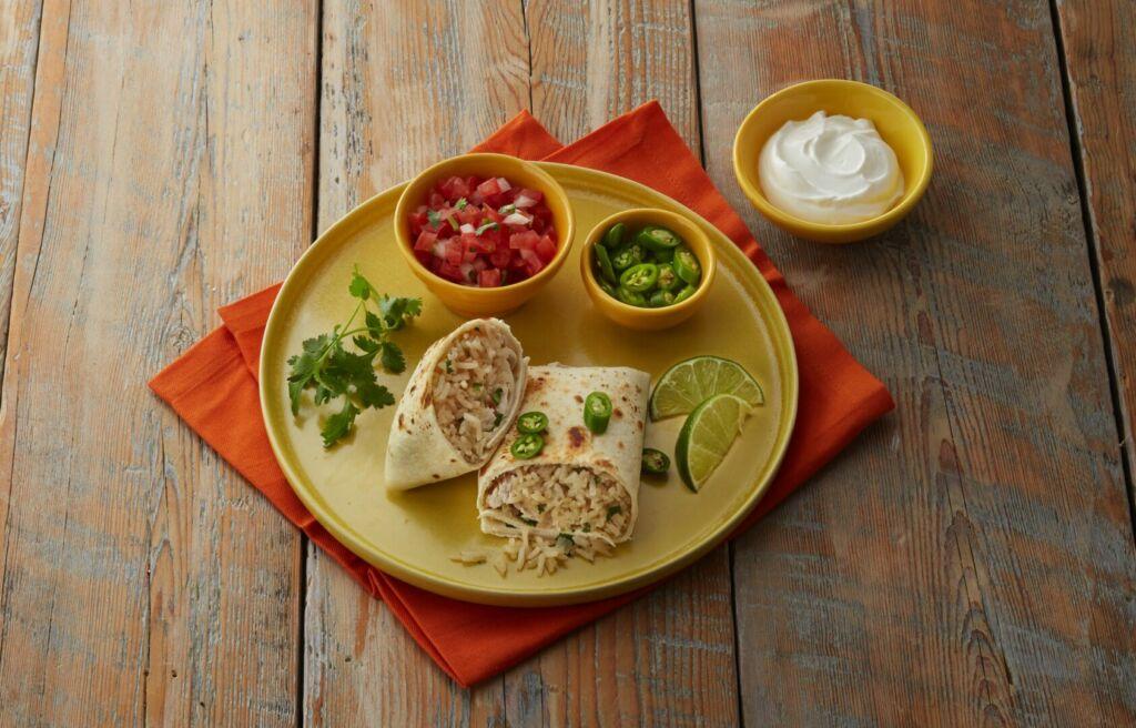 Cilantro-lime-rice-burritos-with-leftover-turkey-jasmine-rice-tomatoes-and-sour-cream
