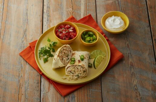 Cilantro-lime-rice-burritos-with-leftover-turkey-jasmine-rice-tomatoes-and-sour-cream