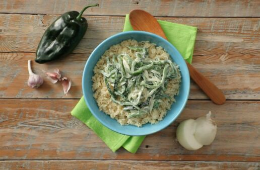 Poblano strips with cream and rice