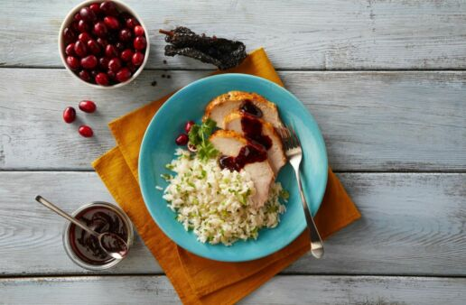 Turkey and Rice with ancho cranberry sauce